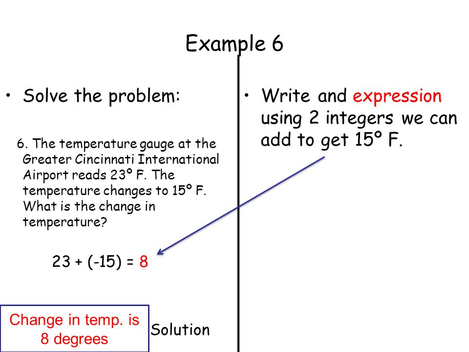 Example 6 Solve the problem: 6. The temperature gauge at the Greater Cincinnati International Airport reads 23º F. The temperature changes to 15º F. W