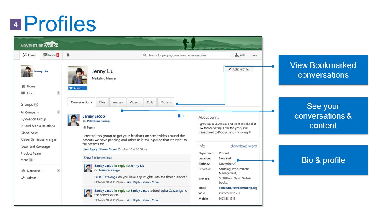 Profiles See your conversations & content Bio & profile View Bookmarked conversations 4