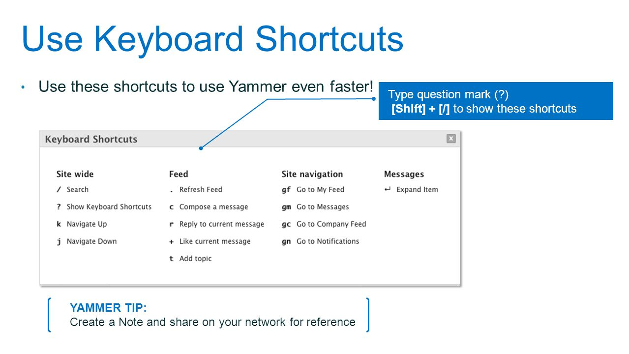 Use Keyboard Shortcuts Use these shortcuts to use Yammer even faster! YAMMER TIP: Create a Note and share on your network for reference Type question