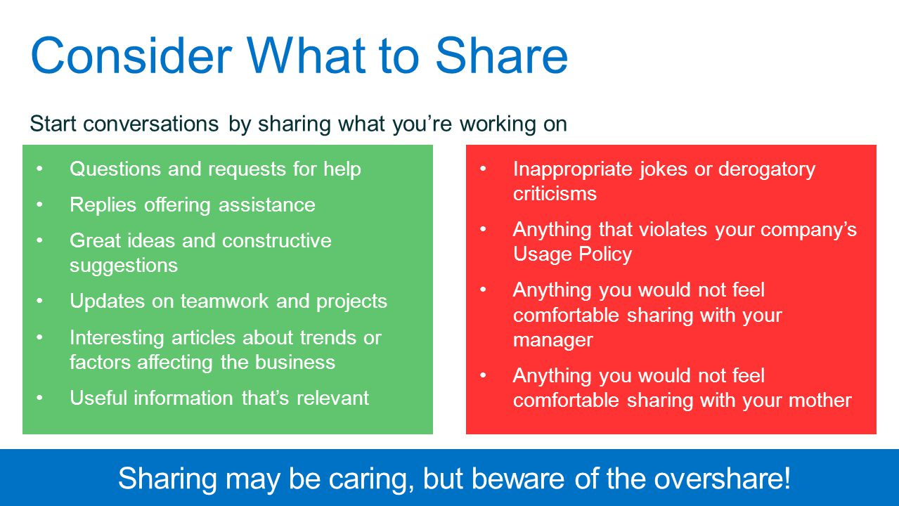 Consider What to Share Start conversations by sharing what you're working on Questions and requests for help Replies offering assistance Great ideas a