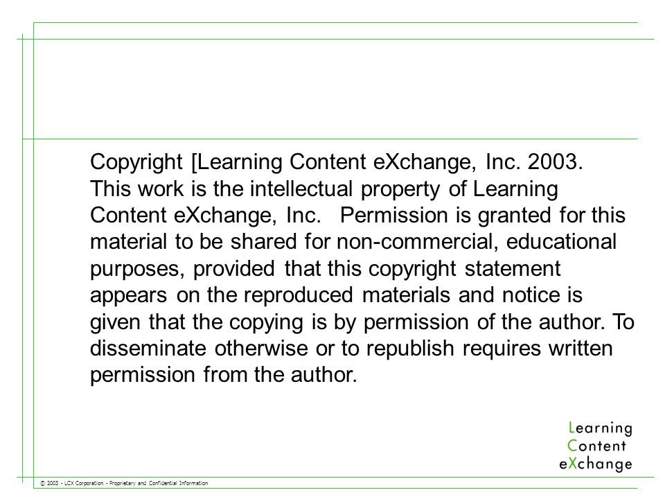 © 2003 - LCX Corporation - Proprietary and Confidential Information The 30,000 Ft.