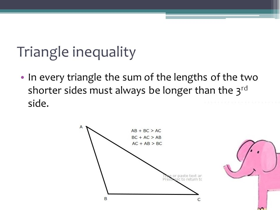 Triangle inequality In every triangle the sum of the lengths of the two shorter sides must always be longer than the 3 rd side.