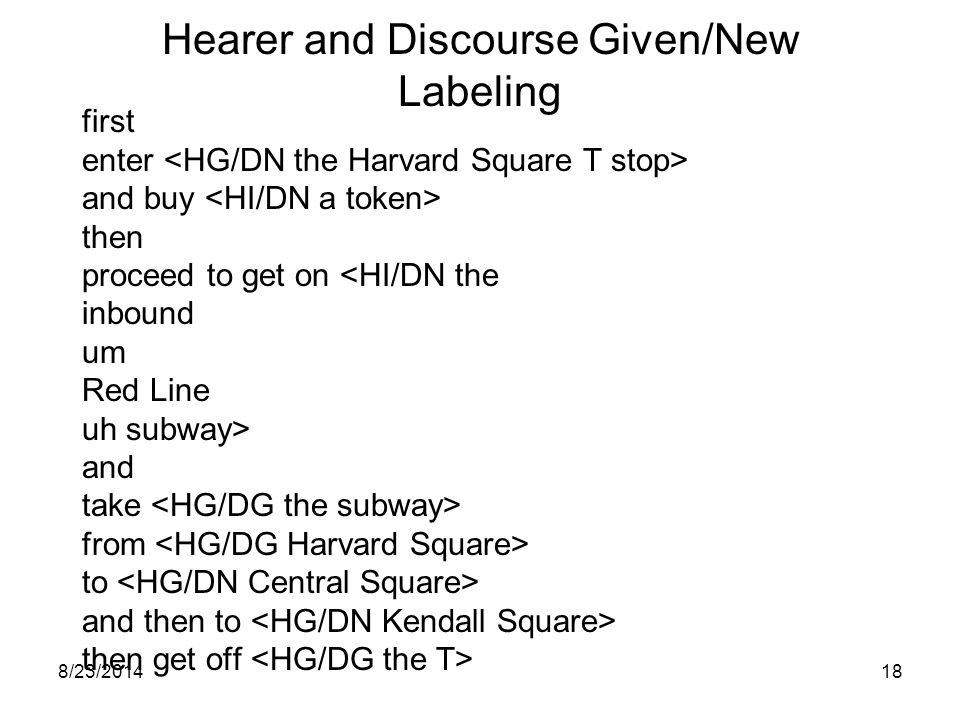 8/23/201417 Hearer and Discourse Given/New Labeling first enter the Harvard Square T stop and buy a token then proceed to get on the inbound um Red Line uh subway and take the subway from Harvard Square to Central Square and then to Kendall Square then get off the T