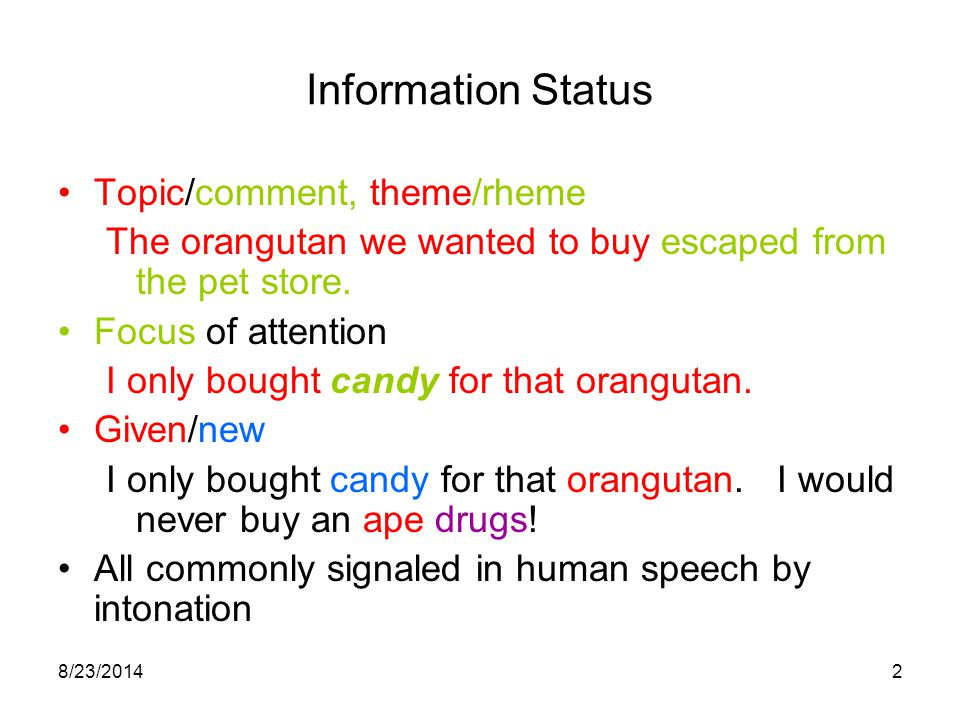 8/23/20142 Information Status Topic/comment, theme/rheme The orangutan we wanted to buy escaped from the pet store.