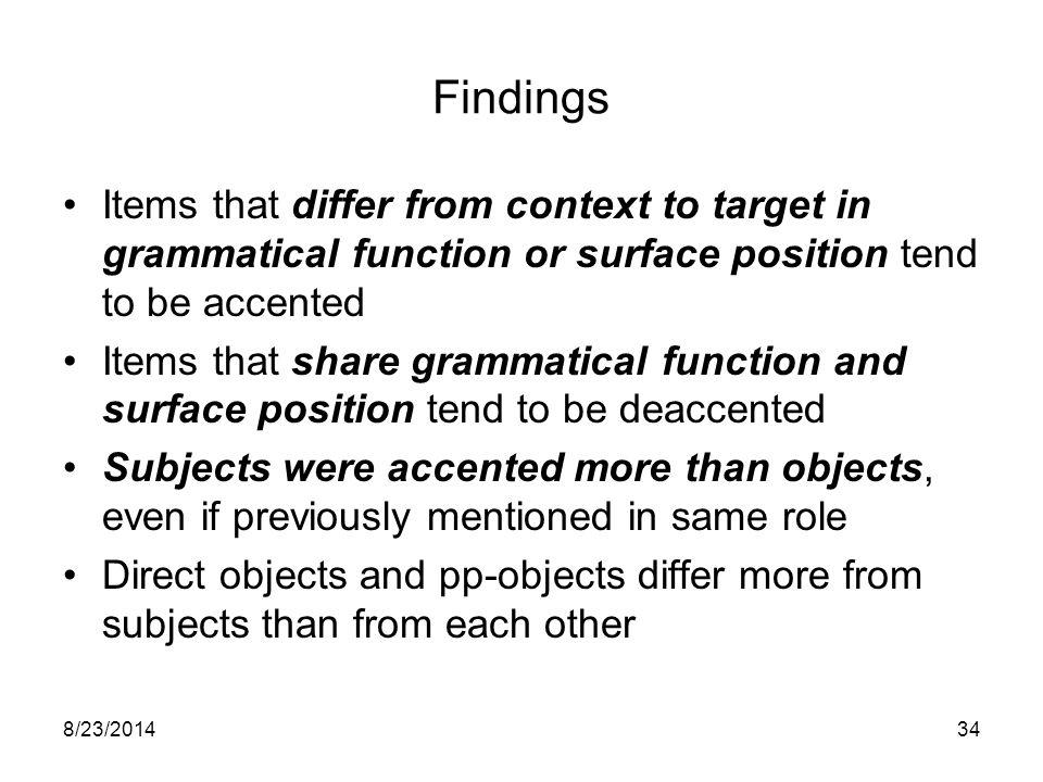 8/23/201433 Grammatical Role/Surface Position Accenting 'Score' CONTEXTTARGET GIVENSubjD-objPp-obj Subj2.13.63.2 D-obj3.30.61.6 Pp-obj3.01.40.7 NEW3.73.8--
