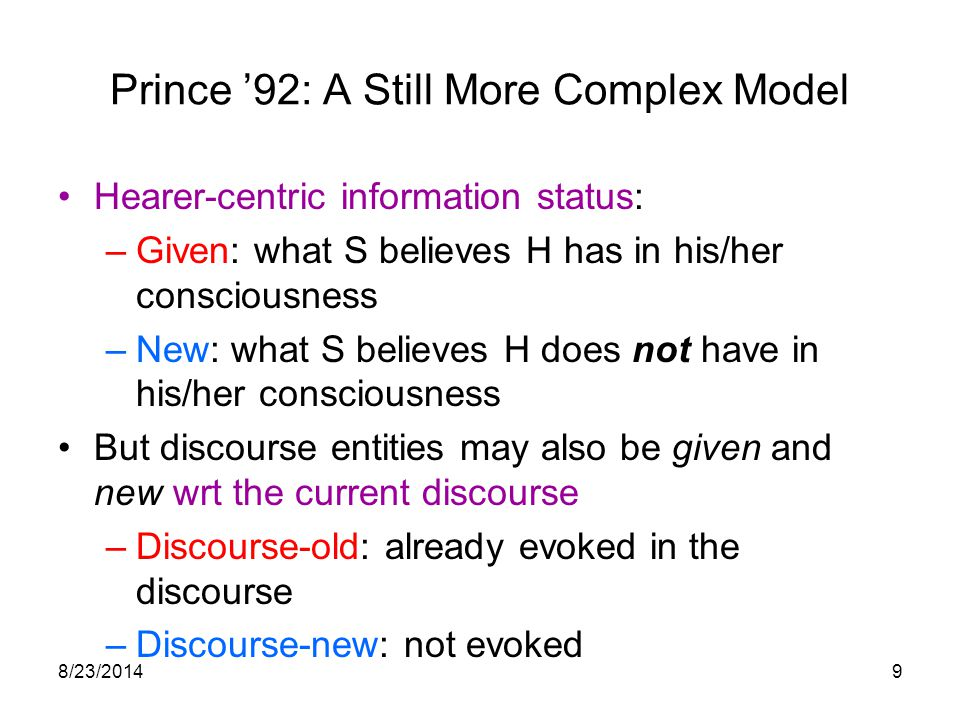 8/23/201419 Does Given/New Status Predict Deaccenting.