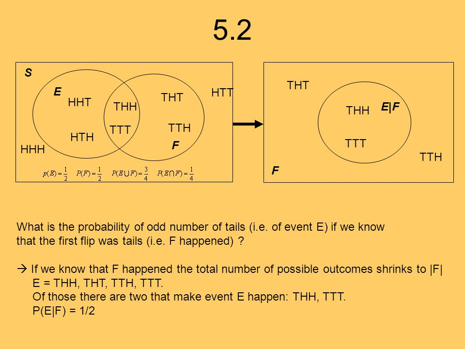 5.2 HHH HHT HTH HTT THH TTH THT TTT E F S What is the probability of odd number of tails (i.e. of event E) if we know that the first flip was tails (i