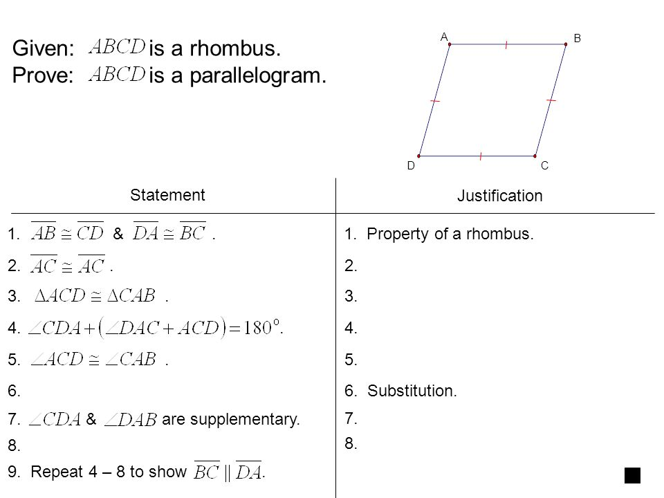 Given: is a rhombus.Prove: is a parallelogram. Statement Justification 1.