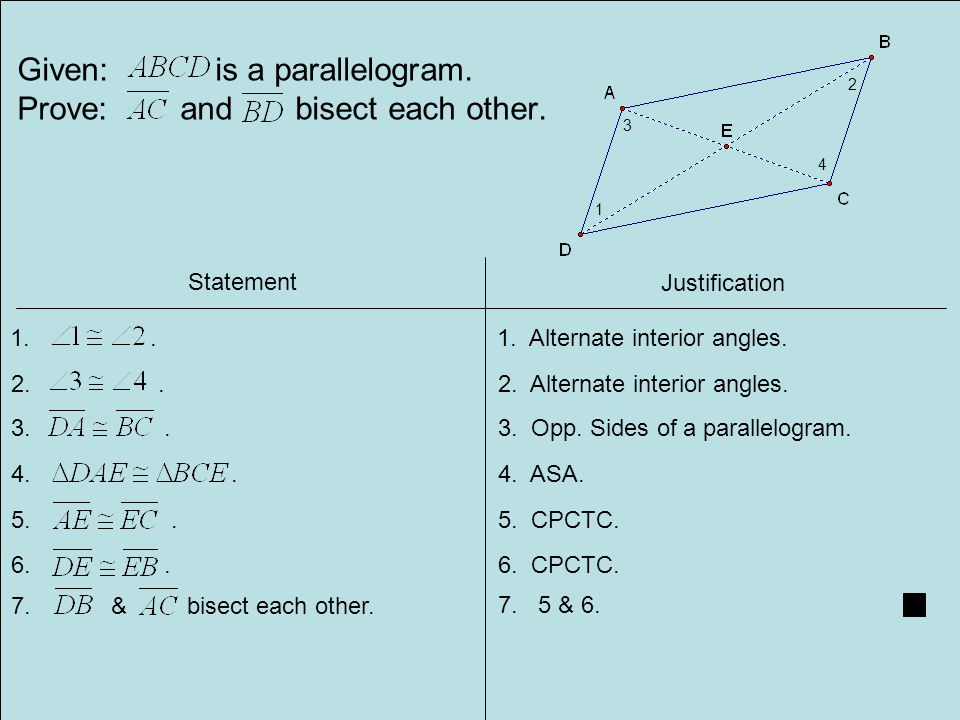 Given: is a parallelogram.Prove: and bisect each other.