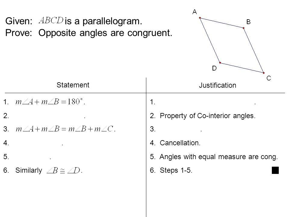 Given: is a parallelogram.Prove: Opposite angles are congruent.