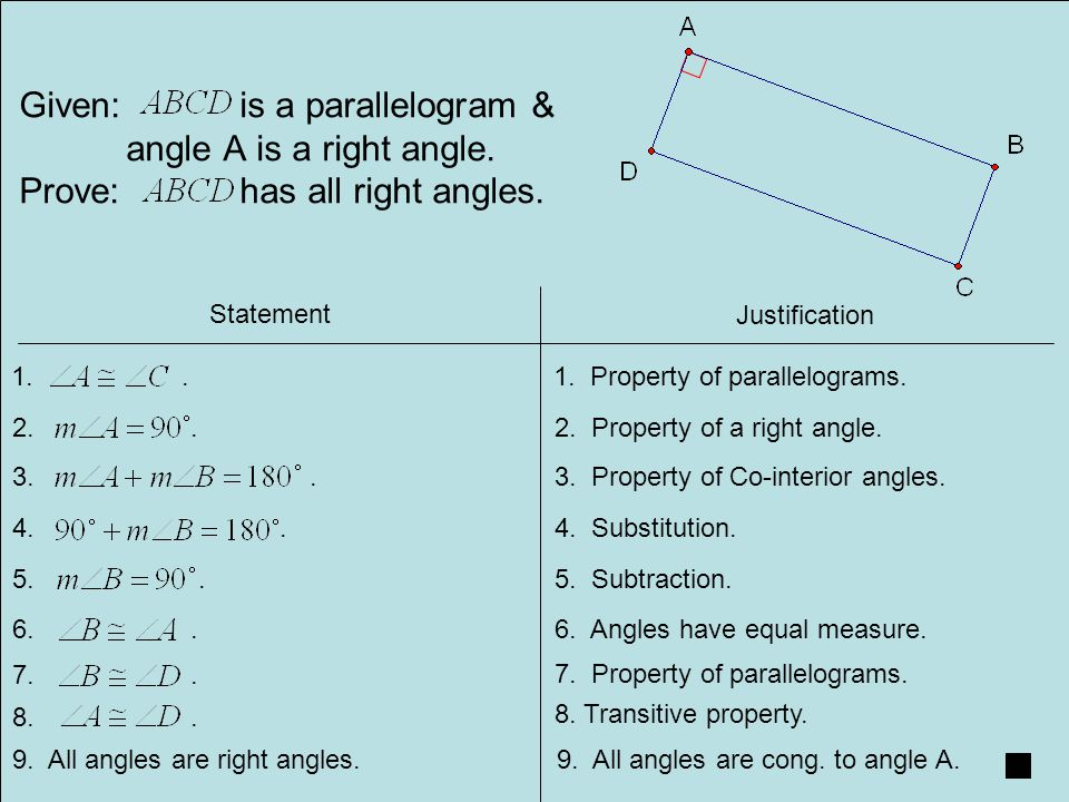 Given: is a parallelogram & angle A is a right angle.
