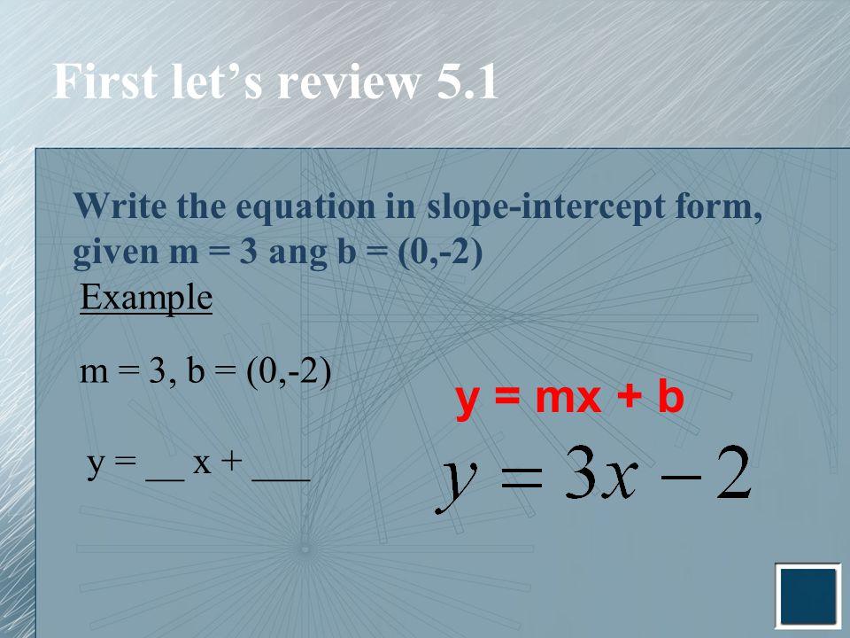 ... ang b = (0,-2) Example m = 3, b = (0,-2) y = __ x + ___ y = mx + b