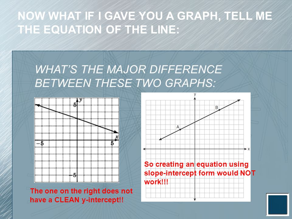 NOW WHAT IF I GAVE YOU A GRAPH, TELL ME THE EQUATION OF THE LINE: WHAT'S THE MAJOR DIFFERENCE BETWEEN THESE TWO GRAPHS: The one on the right does not