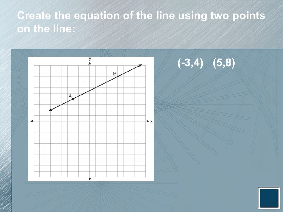 Create the equation of the line using two points on the line: (-3,4) (5,8)
