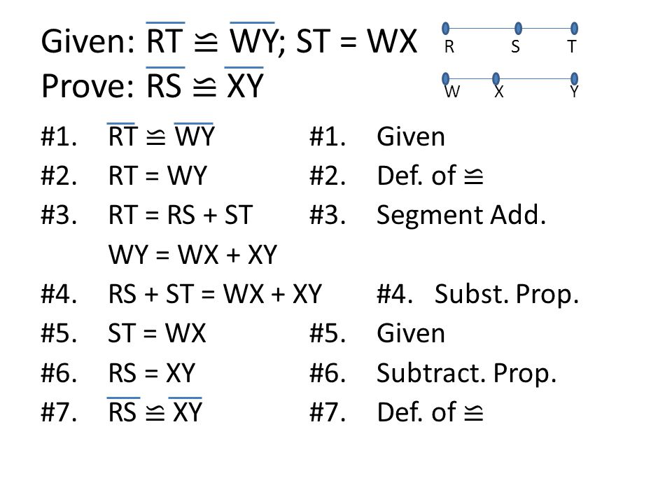 Given: RT ≌ WY; ST = WX RS T Prove: RS ≌ XY W X Y #1.RT ≌ WY#1.Given #2.RT = WY#2.Def.