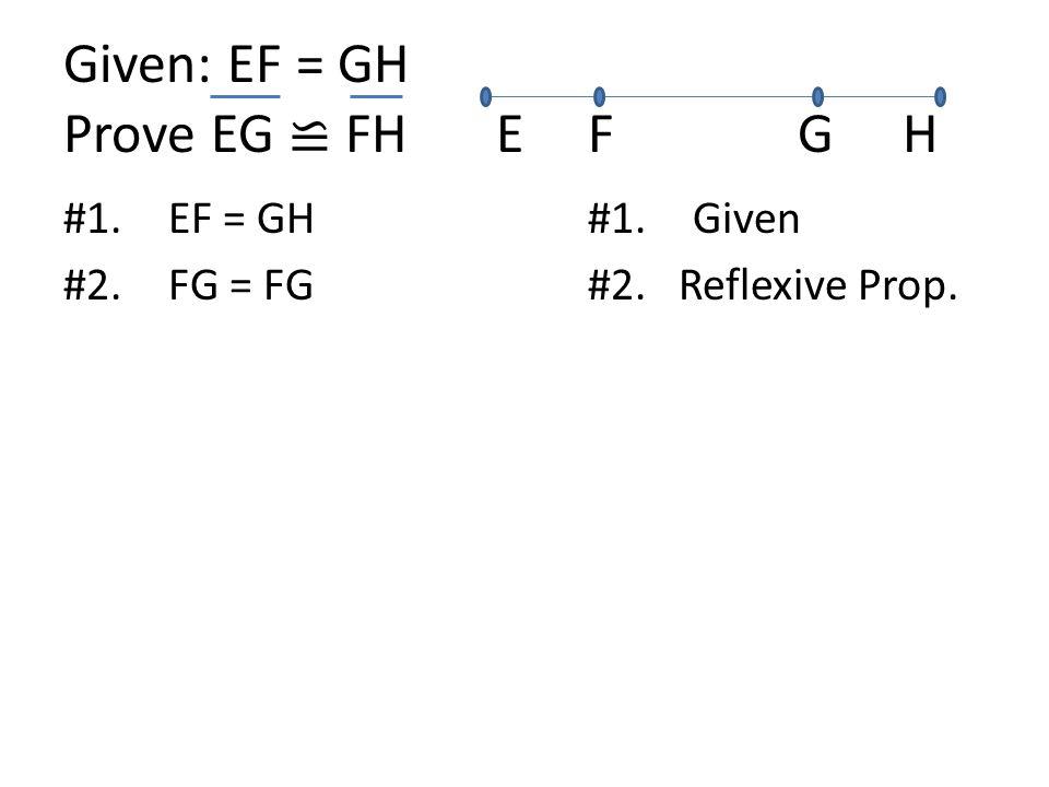 Given: EF = GH Prove EG ≌ FH EFGH #1.EF = GH#1.Given #2.FG = FG#2. Reflexive Prop.