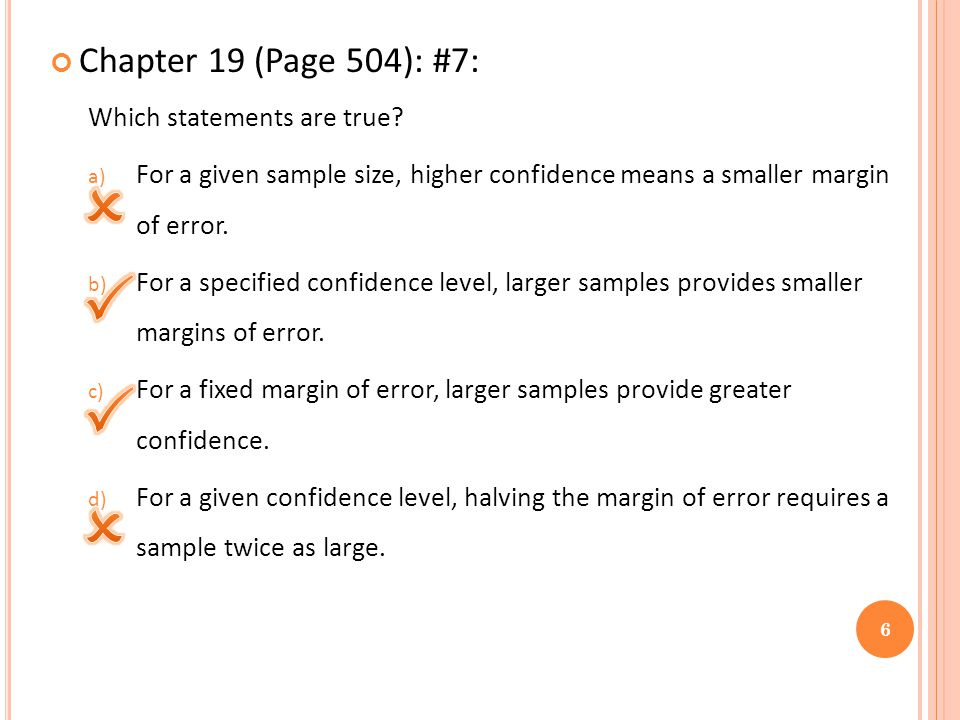 Chapter 19 (Page 504): #7: Which statements are true.