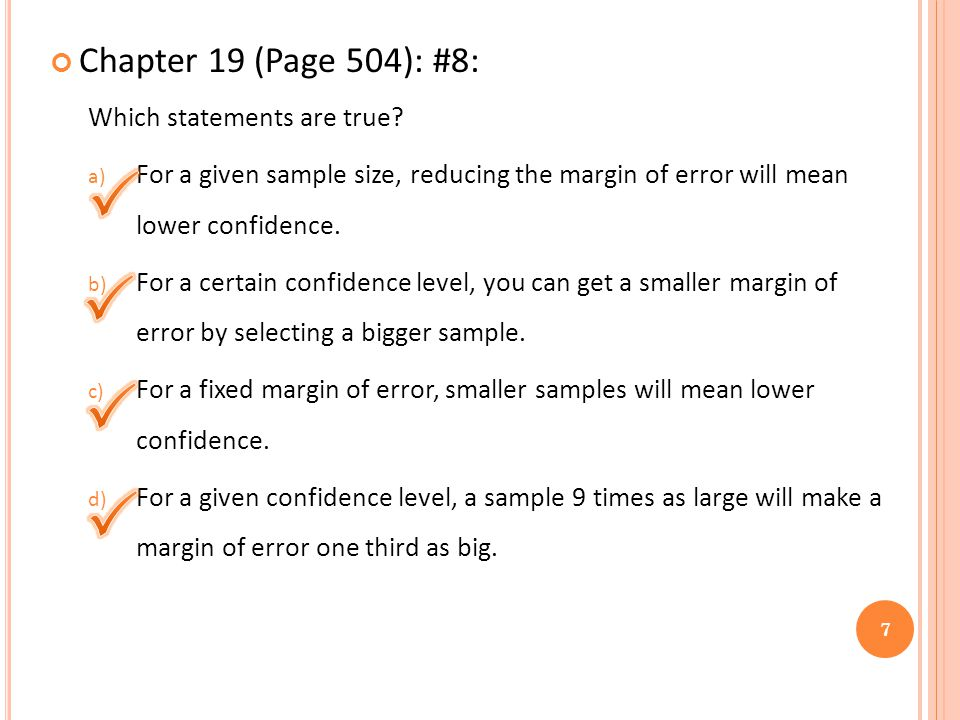 Chapter 19 (Page 504): #8: Which statements are true.