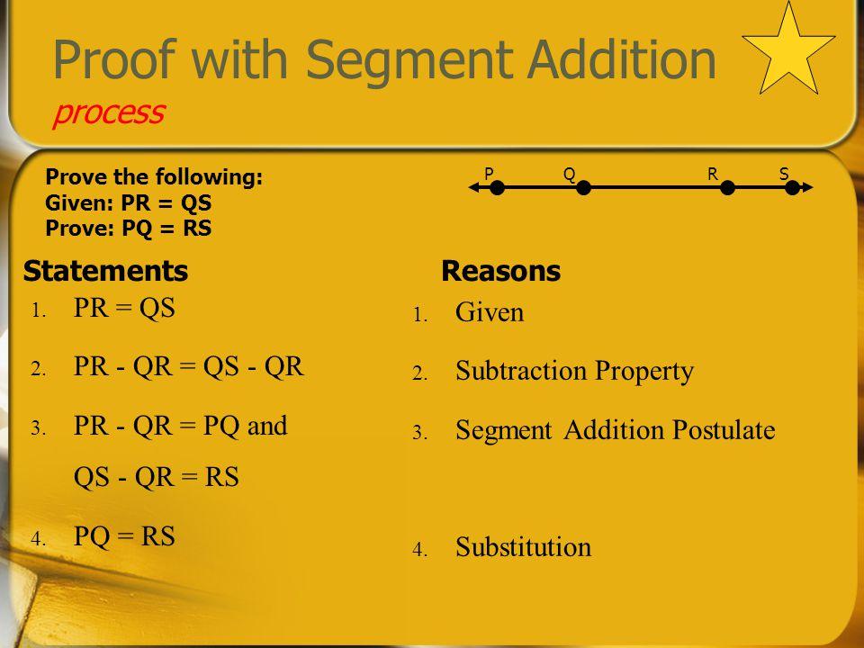 Proof with Segment Congruence process StatementsReasons 1.
