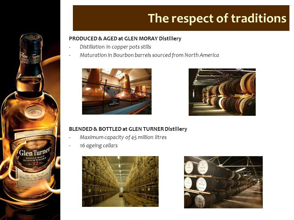PRODUCED & AGED at GLEN MORAY Distillery -Distillation in copper pots stills -Maturation in Bourbon barrels sourced from North America BLENDED & BOTTL