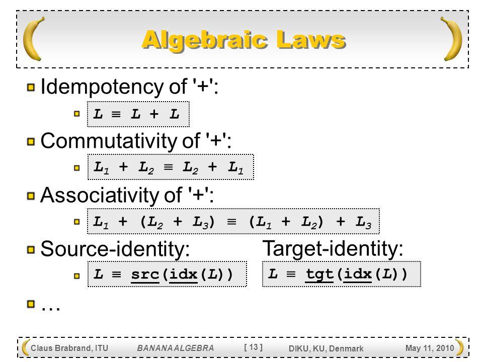 [ 13 ] Claus Brabrand, ITU BANANA ALGEBRA May 11, 2010 DIKU, KU, Denmark Algebraic Laws Idempotency of + : Commutativity of + : Associativity of + : Source-identity: … L  L + L L 1 + L 2  L 2 + L 1 L 1 + (L 2 + L 3 )  (L 1 + L 2 ) + L 3 L  src(idx(L)) L  tgt(idx(L)) Target-identity: