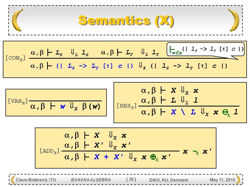 [ 36 ] Claus Brabrand, ITU BANANA ALGEBRA May 11, 2010 DIKU, KU, Denmark Semantics (X) ,  X \ L  X x l [ RES X ] ,  L  L l ,  X  X x ,  X + X  X x x [ ADD X ] ,  X  X x ,  X  X x x x x ~ x x ,  (| L S -> L T [  ] c |)  X (| l S -> l T [  ] c |) [ CON X ] ,  L S  L l S ,  L T  L l T (| l S -> l T [  ] c |) wfx ,  w  X  (w) [ VAR X ]