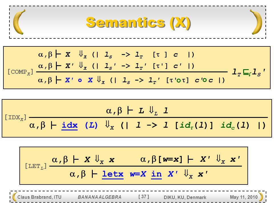 [ 37 ] Claus Brabrand, ITU BANANA ALGEBRA May 11, 2010 DIKU, KU, Denmark Semantics (X) ,  X X  X (| l S -> l T [   ] c c |) [ COMP X ] ,  X  X (| l S -> l T [  ] c |) ,  idx (L)  X (| l -> l [id  (l)] id c (l) |) [ IDX X ] ,  letx w=X in X  X x [ LET L ] ,  [w=x] X  X x ,  X  X x ,  X  X (| l S -> l T [  ] c |) ,  L  L l l T l S l