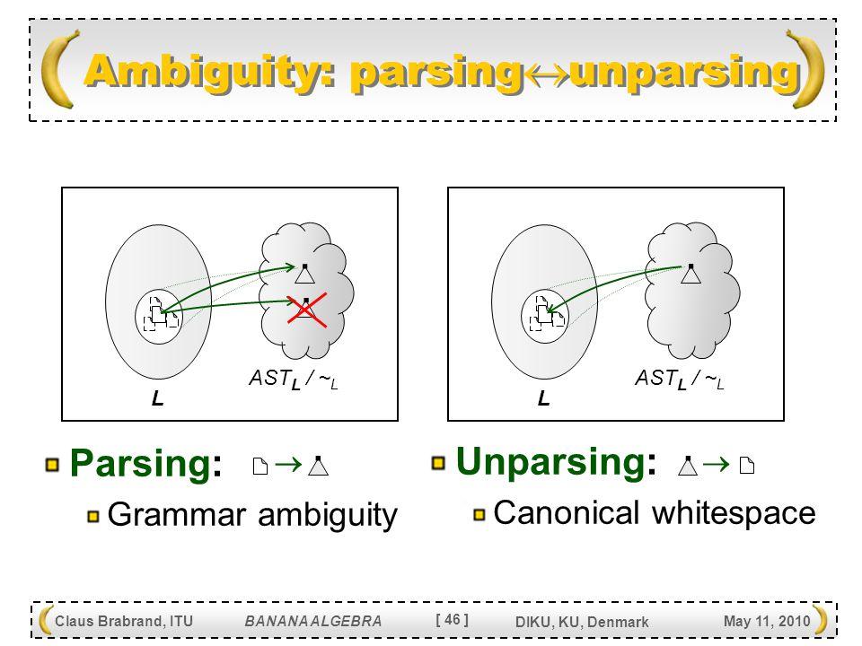 [ 46 ] Claus Brabrand, ITU BANANA ALGEBRA May 11, 2010 DIKU, KU, Denmark Unparsing: Canonical whitespace Ambiguity: parsing  unparsing AST L / ~ L.
