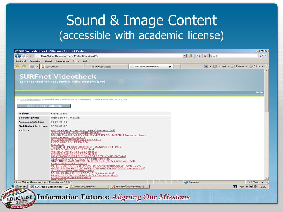 Sound & Image Content (accessible with academic license)