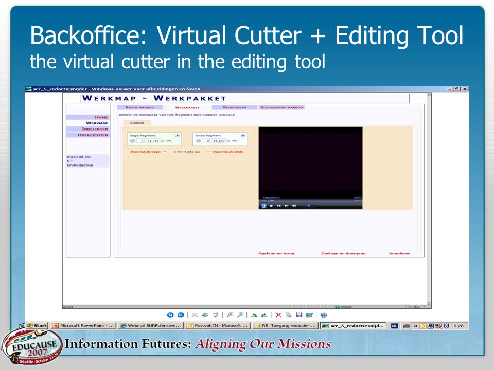 Backoffice: Virtual Cutter + Editing Tool the virtual cutter in the editing tool