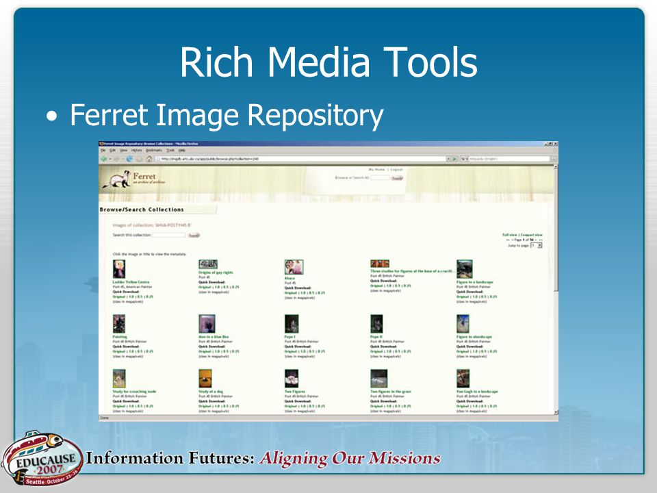 Rich Media Tools Ferret Image Repository