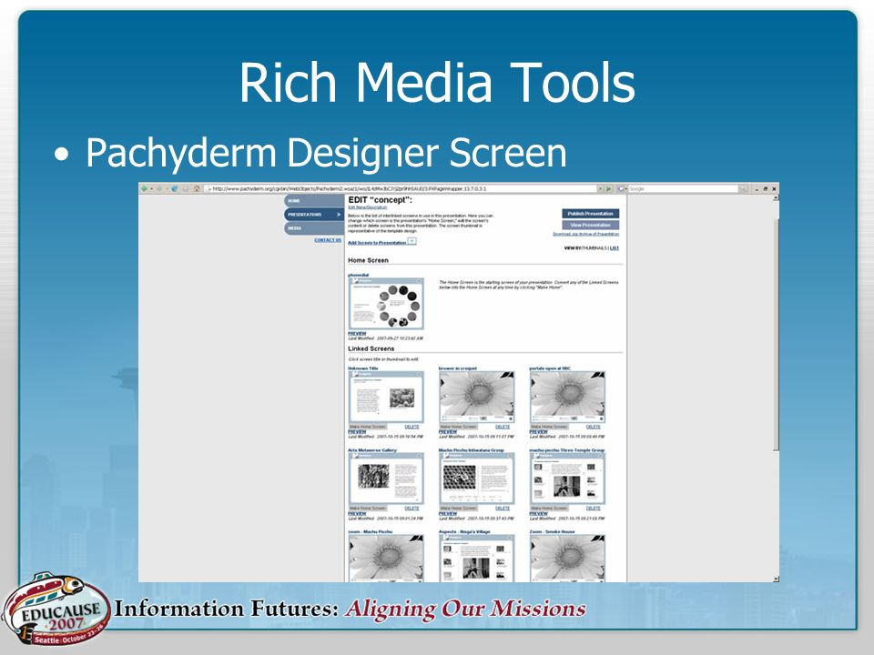 Rich Media Tools Pachyderm Designer Screen