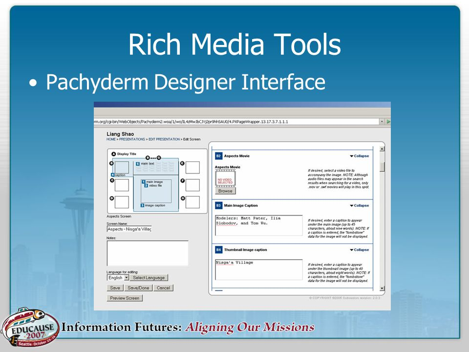 Rich Media Tools Pachyderm Designer Interface