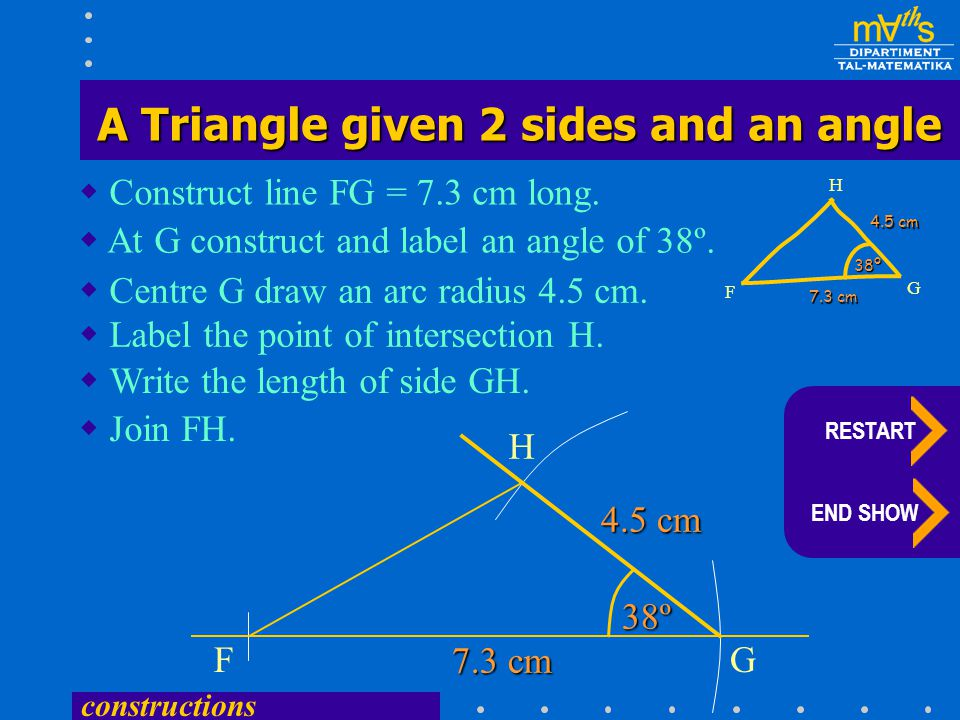 constructions 4.5 cm  Construct line FG = 7.3 cm long.  At G construct and label an angle of 38º. FG  Label the point of intersection H.  Write th