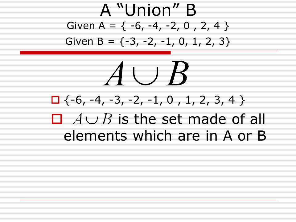 A Union B Given A = { -6, -4, -2, 0, 2, 4 } Given B = {-3, -2, -1, 0, 1, 2, 3}  {-6, -4, -3, -2, -1, 0, 1, 2, 3, 4 }  is the set made of all elements which are in A or B