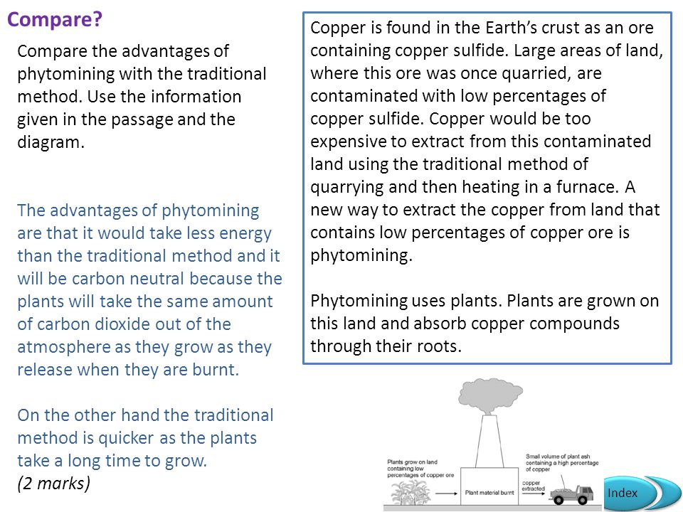 Mr Powell 2012 Index Compare? Copper is found in the Earth's crust as an ore containing copper sulfide. Large areas of land, where this ore was once q