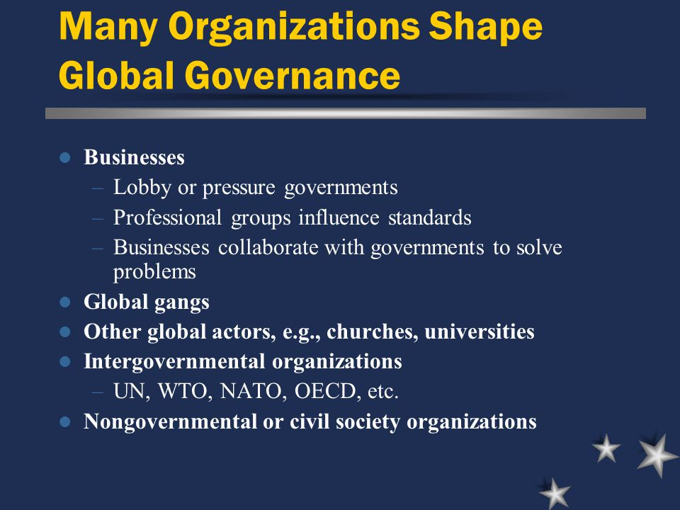Many Organizations Shape Global Governance Businesses –Lobby or pressure governments –Professional groups influence standards –Businesses collaborate with governments to solve problems Global gangs Other global actors, e.g., churches, universities Intergovernmental organizations –UN, WTO, NATO, OECD, etc.