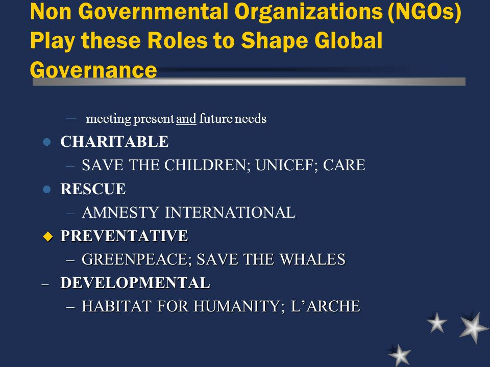Non Governmental Organizations (NGOs) Play these Roles to Shape Global Governance – meeting present and future needs CHARITABLE –SAVE THE CHILDREN; UNICEF; CARE RESCUE –AMNESTY INTERNATIONAL u PREVENTATIVE –GREENPEACE; SAVE THE WHALES – DEVELOPMENTAL –HABITAT FOR HUMANITY; L'ARCHE