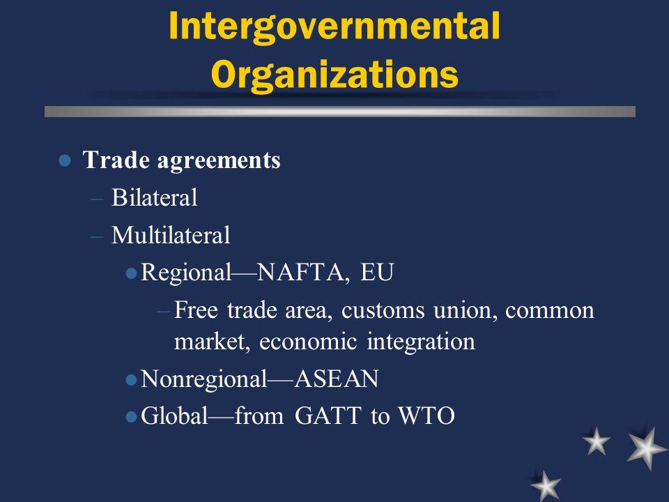 Intergovernmental Organizations Trade agreements –Bilateral –Multilateral Regional—NAFTA, EU –Free trade area, customs union, common market, economic integration Nonregional—ASEAN Global—from GATT to WTO
