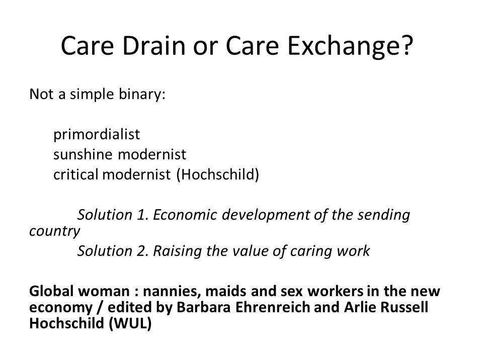 Care Drain or Care Exchange? Not a simple binary: primordialist sunshine modernist critical modernist (Hochschild) Solution 1. Economic development of