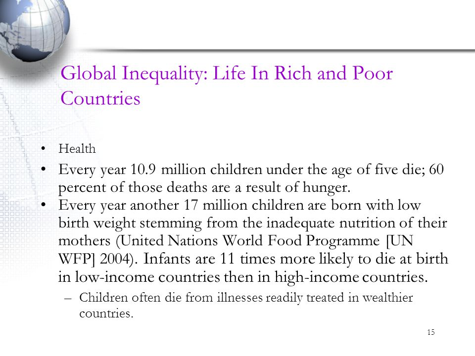 15 Global Inequality: Life In Rich and Poor Countries Health Every year 10.9 million children under the age of five die; 60 percent of those deaths ar