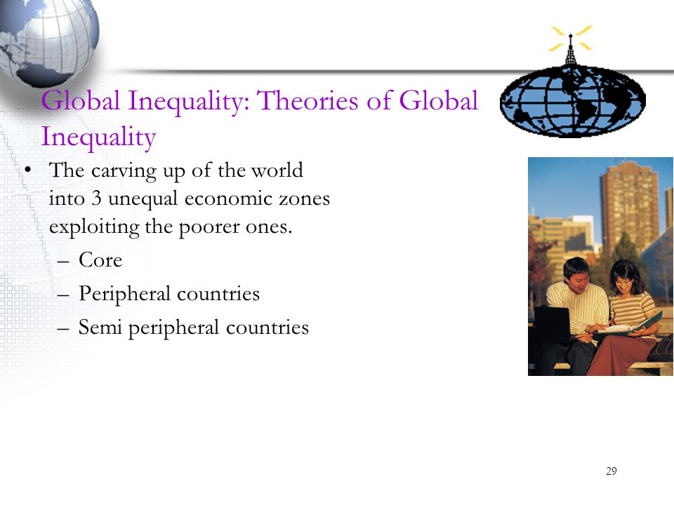 29 Global Inequality: Theories of Global Inequality The carving up of the world into 3 unequal economic zones exploiting the poorer ones. –Core –Perip