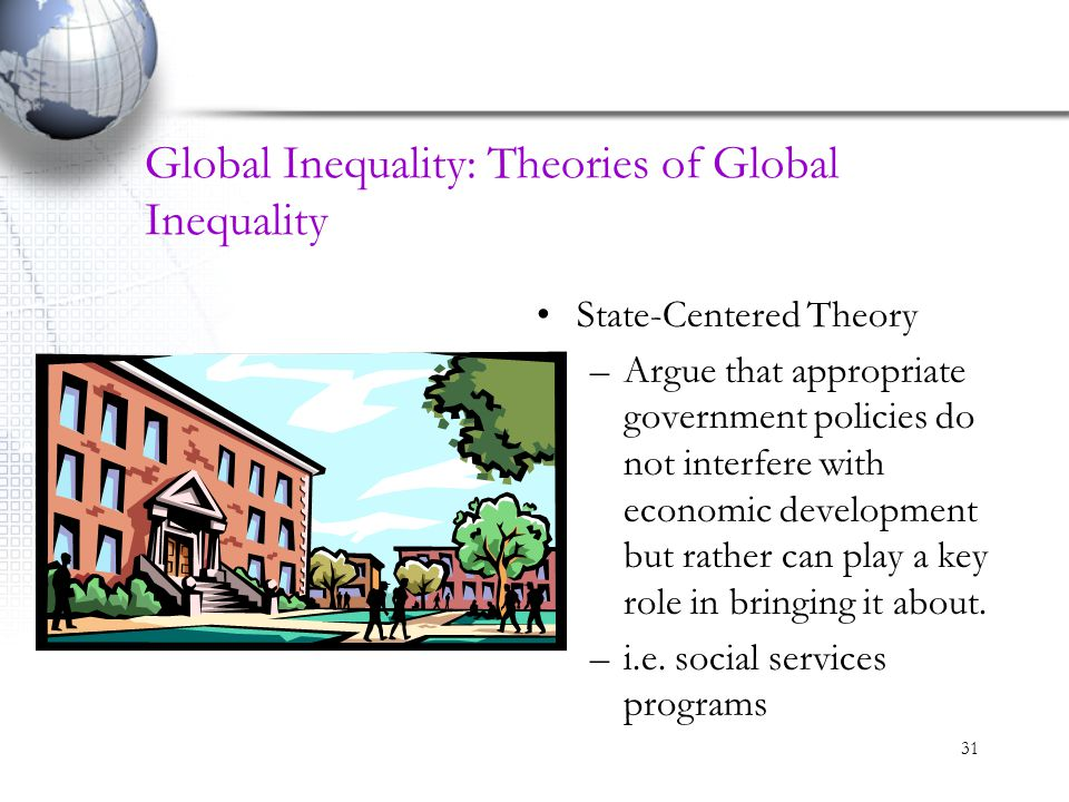 31 Global Inequality: Theories of Global Inequality State-Centered Theory –Argue that appropriate government policies do not interfere with economic d