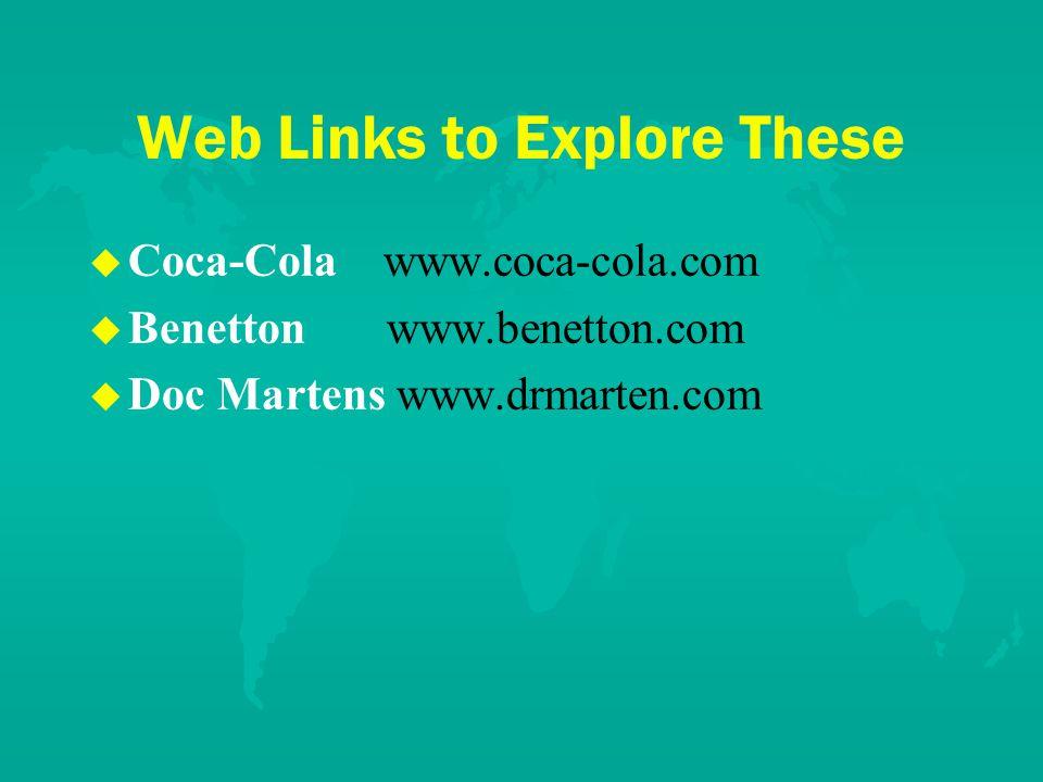 Web Links to Explore These u u Coca-Cola www.coca-cola.com u u Benetton www.benetton.com u u Doc Martens www.drmarten.com