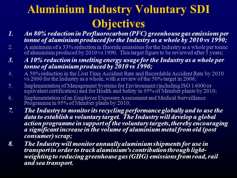 Aluminium Industry Voluntary SDI Objectives 1.An 80% reduction in Perfluorocarbon (PFC) greenhouse gas emissions per tonne of aluminium produced for the Industry as a whole by 2010 vs 1990; 2.A minimum of a 33% reduction in fluoride emissions for the Industry as a whole per tonne of aluminium produced by 2010 vs 1990.
