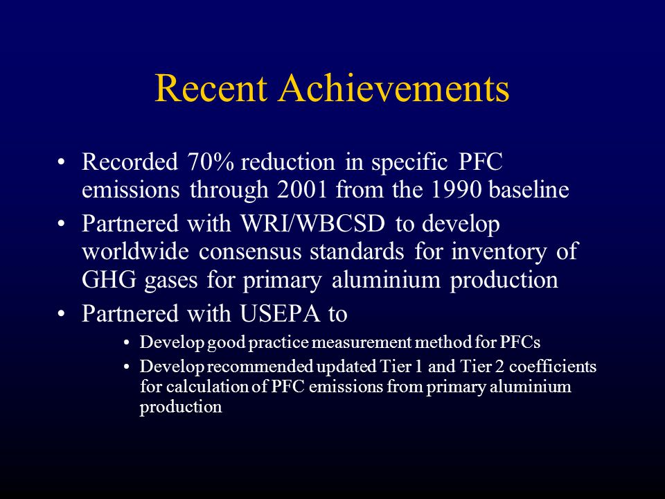 Recent Achievements Recorded 70% reduction in specific PFC emissions through 2001 from the 1990 baseline Partnered with WRI/WBCSD to develop worldwide consensus standards for inventory of GHG gases for primary aluminium production Partnered with USEPA to Develop good practice measurement method for PFCs Develop recommended updated Tier 1 and Tier 2 coefficients for calculation of PFC emissions from primary aluminium production