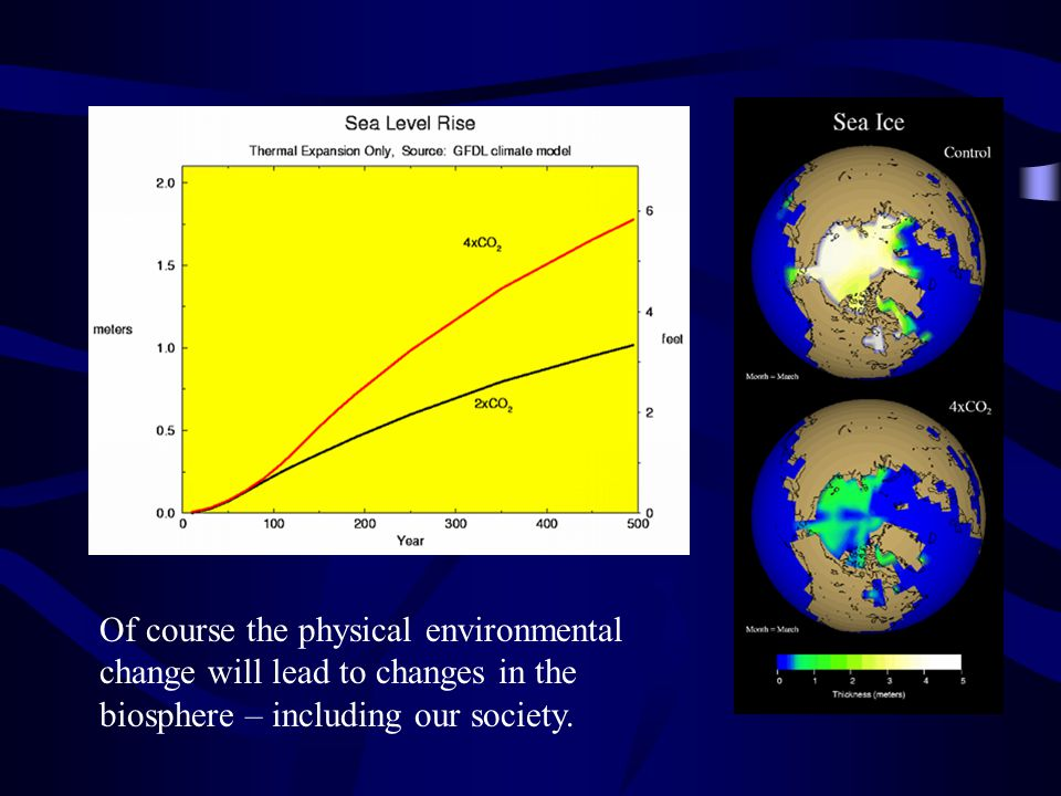 Of course the physical environmental change will lead to changes in the biosphere – including our society.