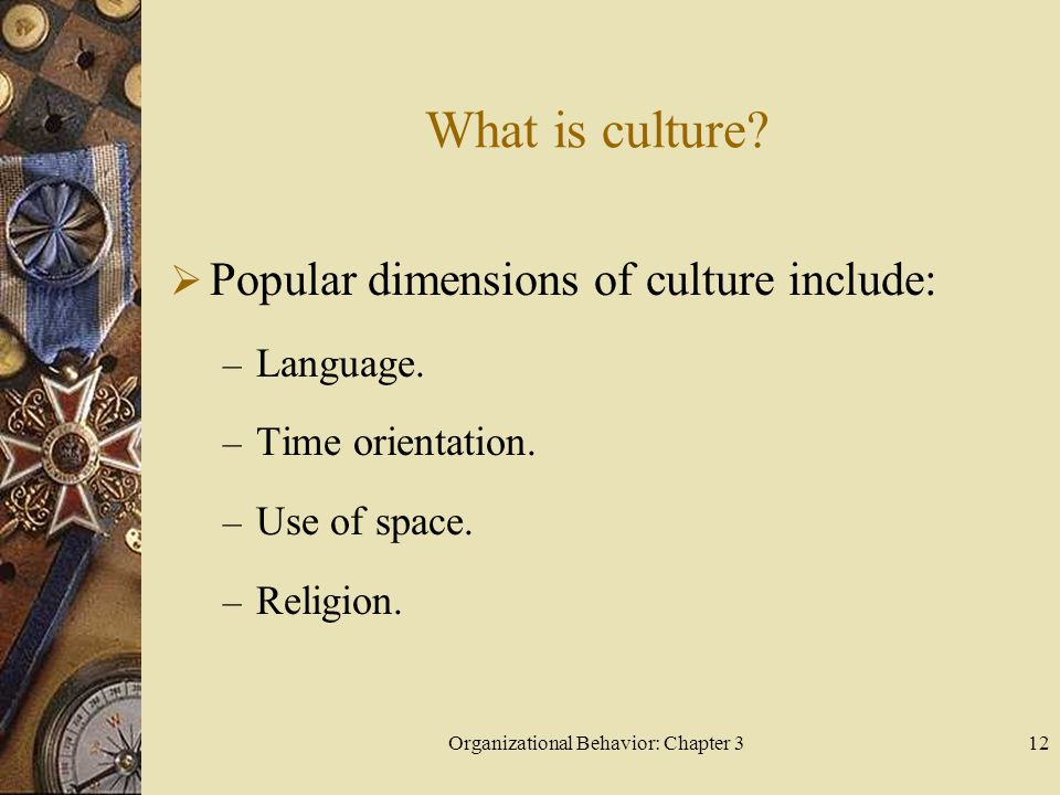 Organizational Behavior: Chapter 312 What is culture.