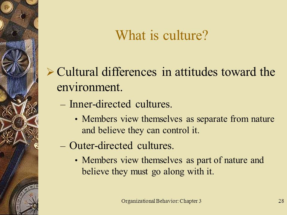 Organizational Behavior: Chapter 328 What is culture.