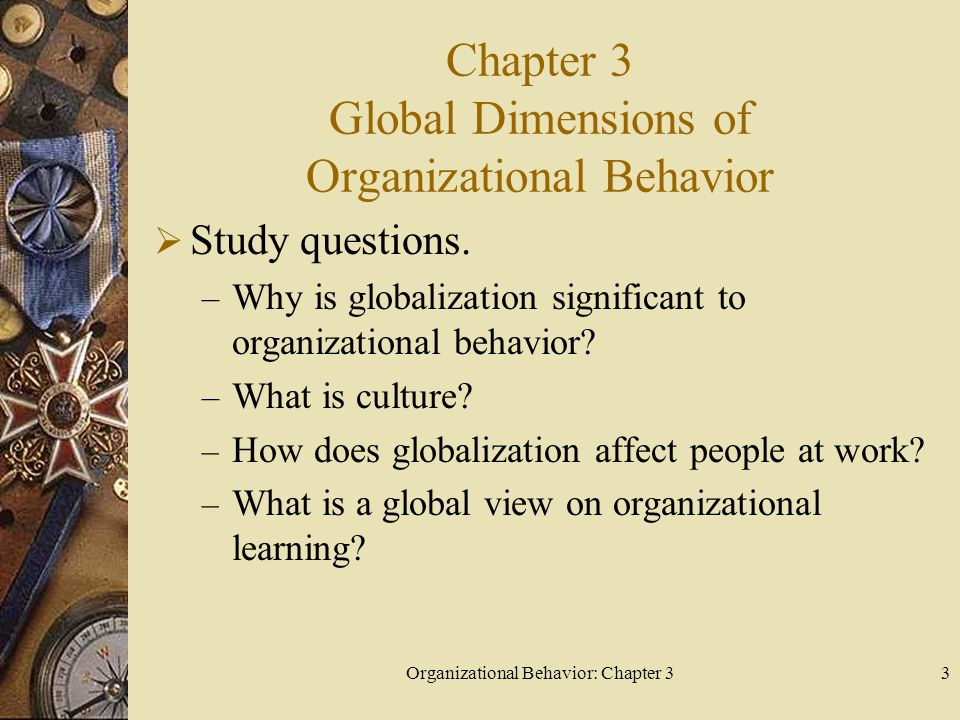 Organizational Behavior: Chapter 33 Chapter 3 Global Dimensions of Organizational Behavior  Study questions.